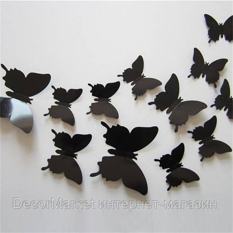Набор бабочек 3D на скотче, ЧЕРНЫЕ однотонные, фото 2
