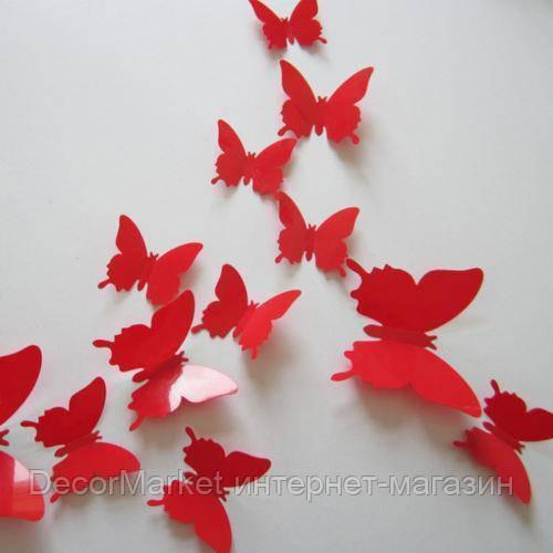 Набор бабочек 3D на скотче, КРАСНЫЕ однотонные