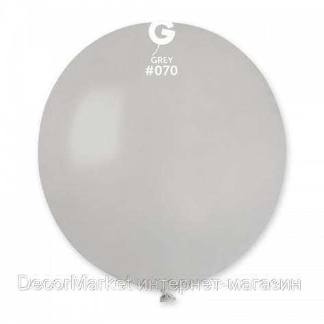 Шарик воздушный 19 дюймов (48 см) пастель СЕРЫЙ, фото 2