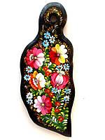 Подарок необычный для женщины Доска кухонная разделочная дерево бук расписная, декор кухни, петриковка