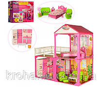 Двухэтажный дом для кукол 6982В с мебелью, 3 комнаты/Игровой набор для девочки, раз. дома 81-82-40,5 см
