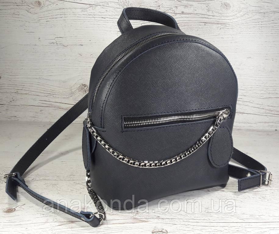 116-6 Натуральная кожа, Городской рюкзак, цвет джинс (серый синий), тиснение сафьяно