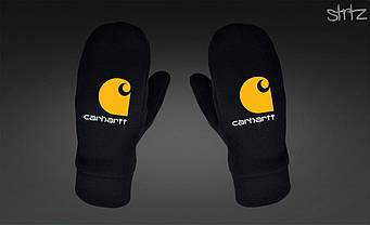 Теплые варежки Carhartt черного цвета (люкс копия)