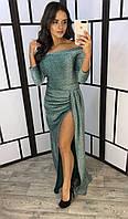 Женское восхитительное, вечернее, нарядное платье из люрекса с глубоким разрезом , фото 1