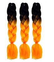 Канекалоновая коса омбре черный + оранжевый