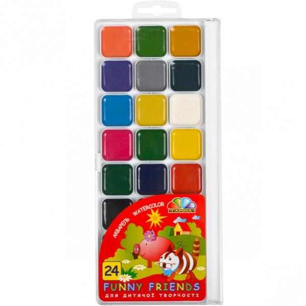 Акварель 24 цвета «Веселі друзі» пластик «Гамма» 22,5×10 см