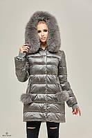 Серый зимний женский пуховик в категории Товары cb87aa7e87689