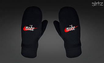 Теплые варежки Nike черного цвета (люкс копия)