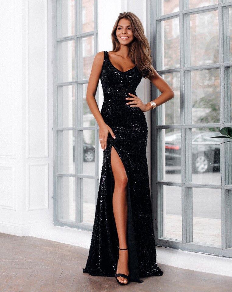 c95c726494e Женское вечернее платье в пол с глубоким разрезом впереди -  Интернет-магазин