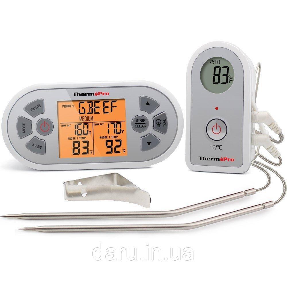 Двухканальный беспроводной термометр ThermoPro TP-22 (0 ..+300 °С; до 100 м) со щупом для приготовления пищи