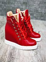 Яркие удобные сникерсы демисезонные на шнуровке кожаные на байке красные 446fca1f58d87