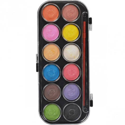 Акварель сухая 12 цветов пластик 21×9,5 см:, фото 2