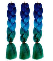 Канекалоновая коса омбре, синий + голубой + зеленый