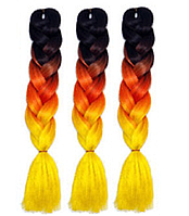 Канекалоновая коса омбре, черный + рыжий + желтый