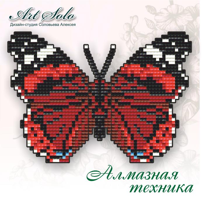 Алмазна техніка 150х105мм метелик-магніт «Червоний адмірал (Vanessa atalanta)»