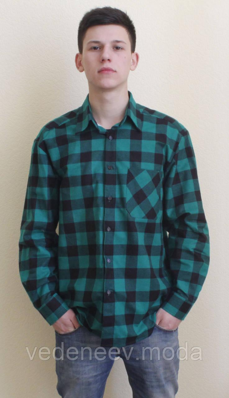 11c95c122ed Зеленая теплая рубашка в клетку  продажа
