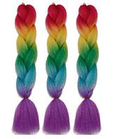 Канекалоновая коса омбре, красный + желтый + зеленый + голубой + сиреневый