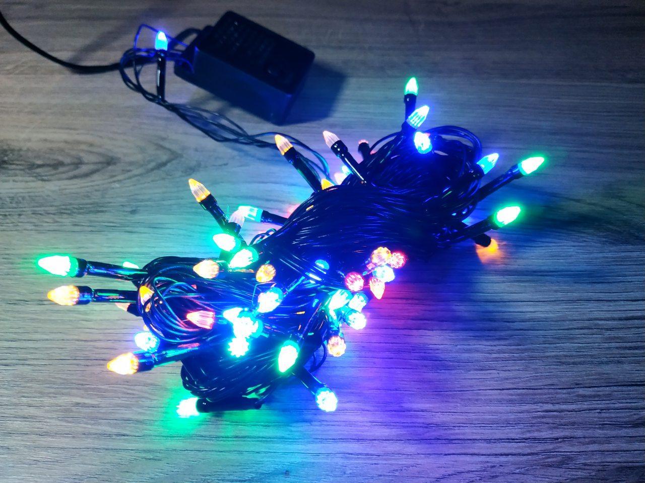 Новогодняя разноцветная LED-гирлянда Прозрачный конус