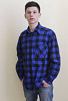 Синяя фланелевая рубашка в клетку
