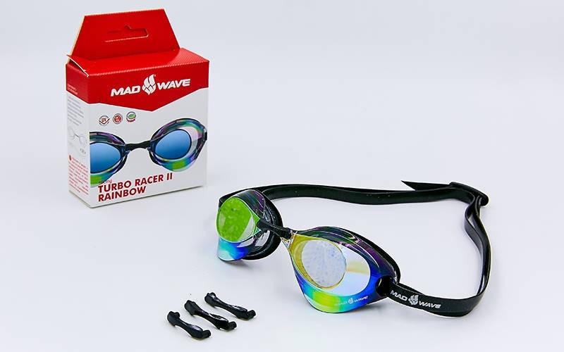 Очки для плавания стартовые MadWave TURBO RACER II RAINBOW (поликарбонат, термопластичная резина, силикон)