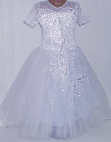 """Платье нарядное """"Оливия"""" (молния,шнуровка)  5-9 лет, цвет: белый"""