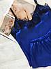 Женская пижама атласная майка и шорты электрик 016, фото 4