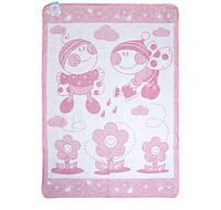 Одеяло-плед детский Букашка 100х140см розовый