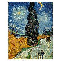 Картина по номерам. Дорога с кипарисом и звездой. Ван Гог