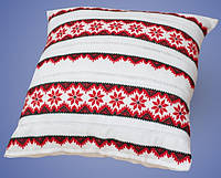 Подушка вышитая крестиком на домотканом полотне