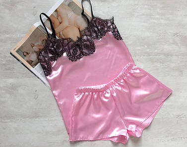 Пижама женская атласная майка и шорты 016 розовая