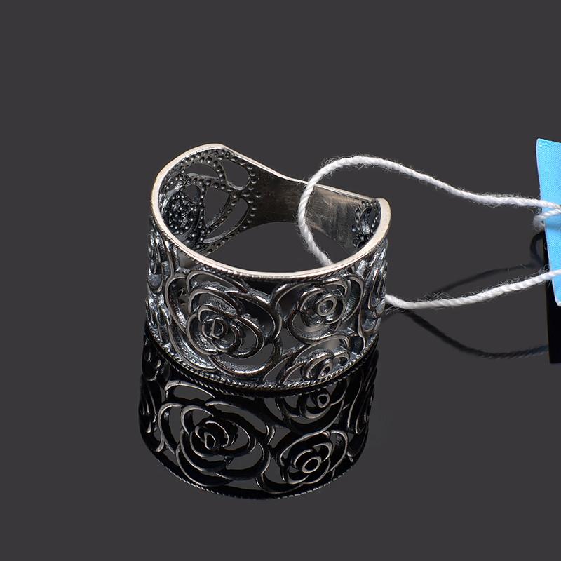 Серебряное крупное резное кольцо Розы