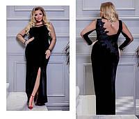 83e067cfed6 Шикарное вечернее платье батал из бархата с вставками из сетки