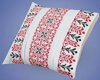 Подушка из домотканого полотна с вышивкой