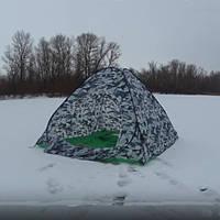 Палатка зимне летняя универсальная 2*2m автоматическая с отстежным клапаном под зимние лунки серый камуфляж.