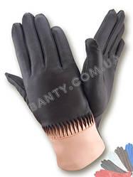 Женские кожаные перчатки без подкладки Модель 390