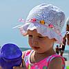 Цветы №1- летняя х/б панамка, ажурная. р.50-54 (3-8 лет) Т.роз, голубой, розовый
