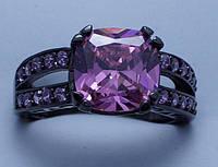 Кольцо Черное золото 14 к розовый сапфир вороненое покрытие
