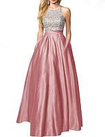 Модное красивое выпускное платье 2019 года серебристо розовое из атласа с блестящим верхом с пайетками DL-6014