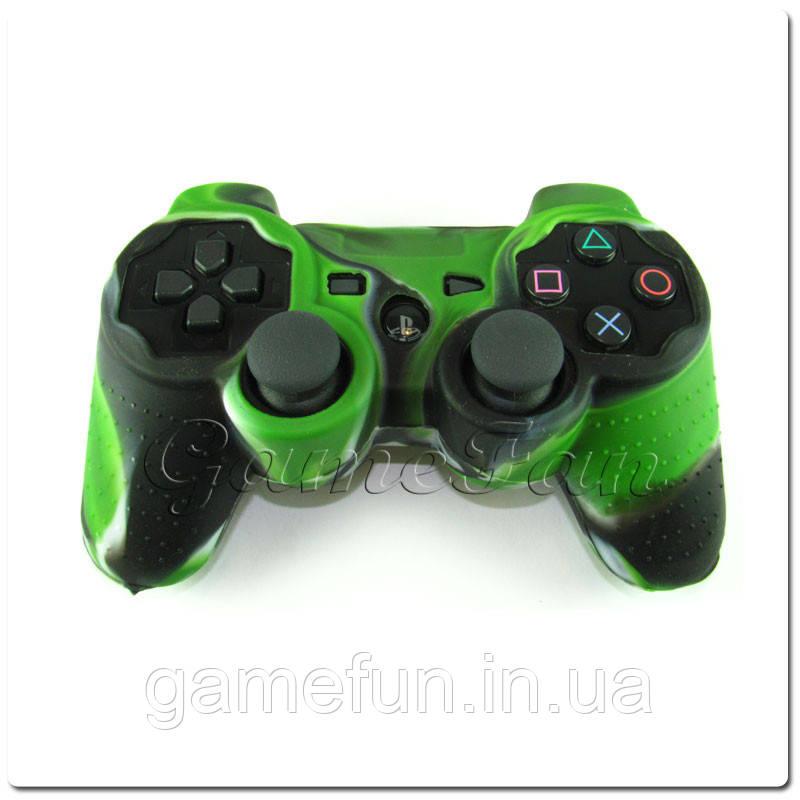Силиконовый чехол для джойстика PS3 (Камуфляж)(Green-braun)