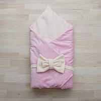 Конверт-одеяло на выписку плюш звездочка нежно-розовый