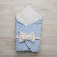 Конверт-одеяло на выписку плюш сердечко нежно-голубой