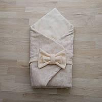 Конверт-одеяло на выписку плюш звездочка молочный