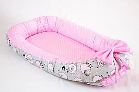 Кокон – гнездышко позиционер для новорожденных класика BabySoon Розовые барашки 50х80см