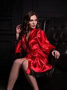 Атласный халат Красный, размеры от XS до XXL