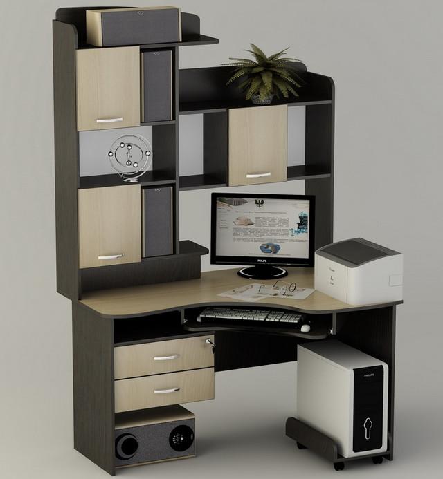 Компьютерный стол ''Лаврион'' ― очень компактный, гармоничный, многофункциональный.
