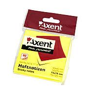 Блок клейкий Axent 75x75мм 80 листов, желтый, неон (4823 90 85 00)