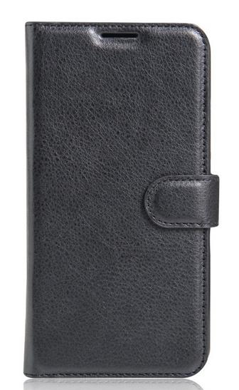 Кожаный чехол-книжка для Doogee Y6 черный