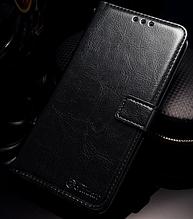 Кожаный чехол-книжка для OnePlus 6 черный