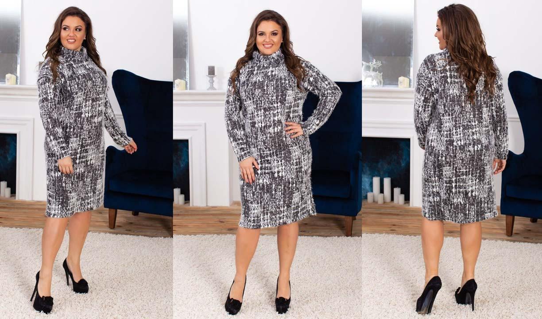 """Женское стильное тёплое платье в больших размерах 5153 """"Гольф Пушистик Штрихи"""""""
