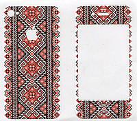 Виниловая наклейка для iPhone 4/4s Красная вышиванка + заставка